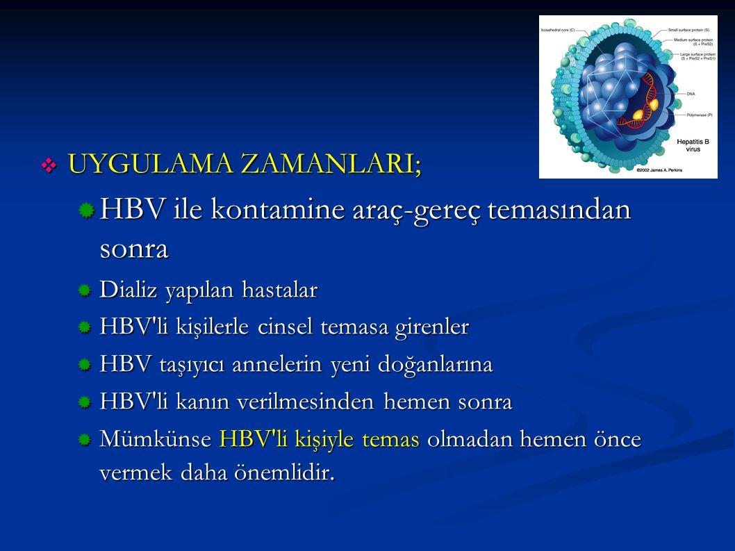  UYGULAMA ZAMANLARI;  HBV ile kontamine araç-gereç temasından sonra  Dializ yapılan hastalar  HBV'li kişilerle cinsel temasa girenler  HBV taşıyı
