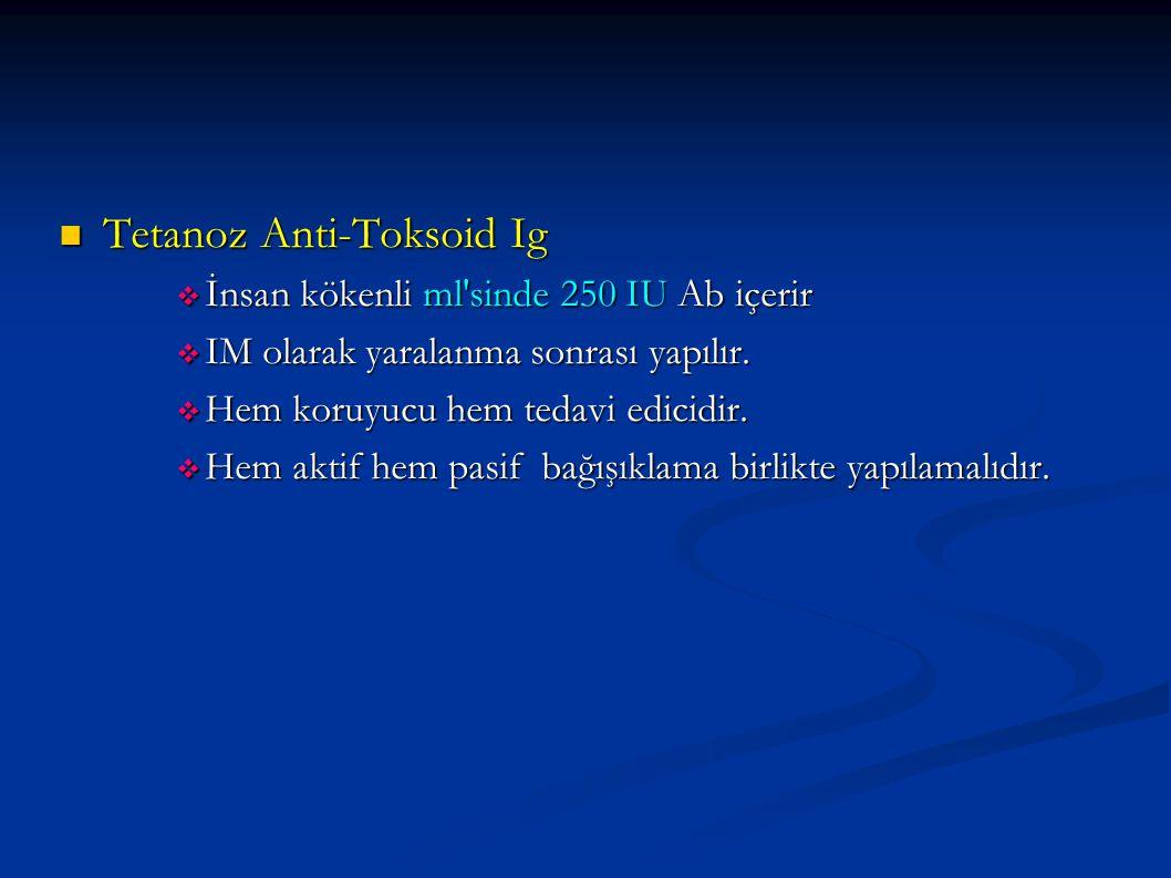 Tetanoz Anti-Toksoid Ig Tetanoz Anti-Toksoid Ig  İnsan kökenli ml'sinde 250 IU Ab içerir  IM olarak yaralanma sonrası yapılır.  Hem koruyucu hem te