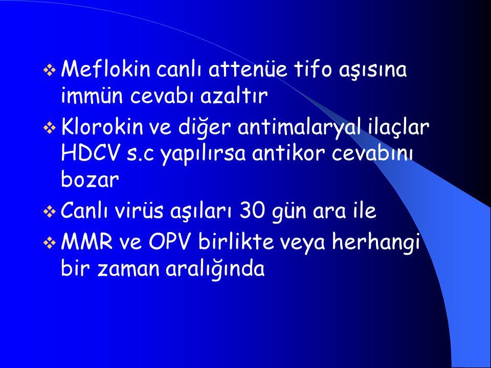  Meflokin canlı attenüe tifo aşısına immün cevabı azaltır  Klorokin ve diğer antimalaryal ilaçlar HDCV s.c yapılırsa antikor cevabını bozar  Canlı