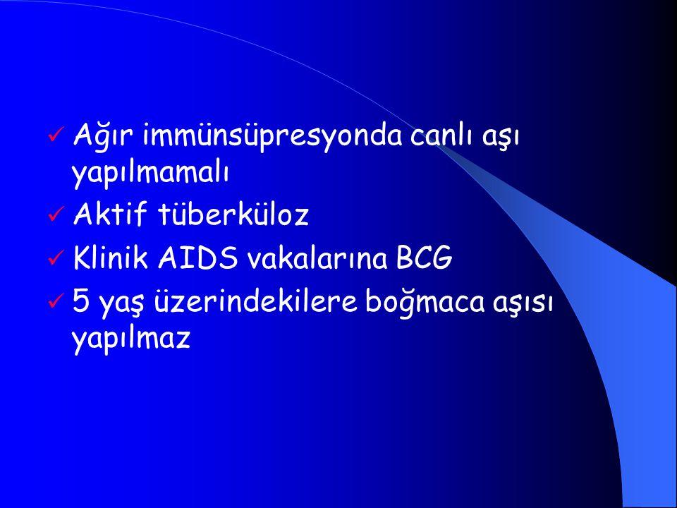 Ağır immünsüpresyonda canlı aşı yapılmamalı Aktif tüberküloz Klinik AIDS vakalarına BCG 5 yaş üzerindekilere boğmaca aşısı yapılmaz