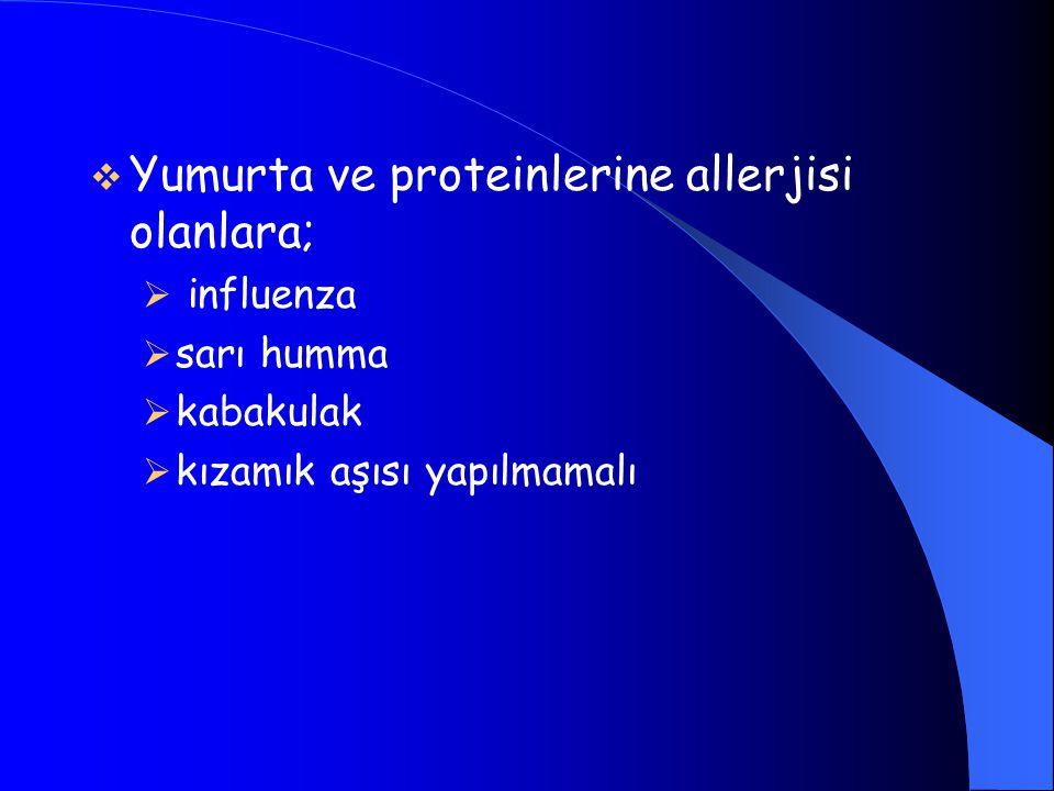  Yumurta ve proteinlerine allerjisi olanlara;  influenza  sarı humma  kabakulak  kızamık aşısı yapılmamalı
