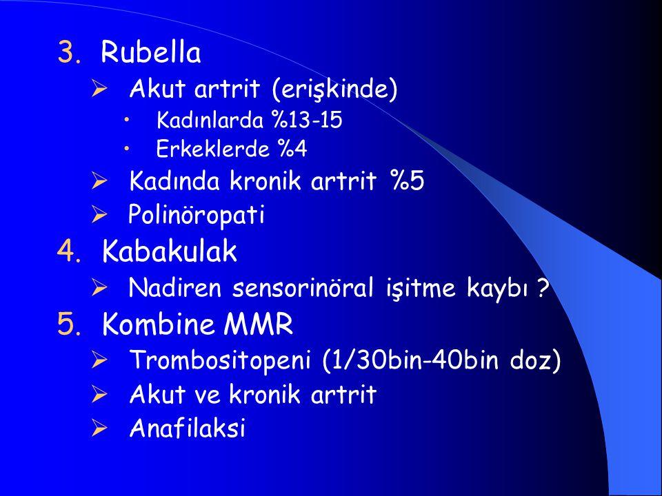 3.Rubella  Akut artrit (erişkinde) Kadınlarda %13-15 Erkeklerde %4  Kadında kronik artrit %5  Polinöropati 4.Kabakulak  Nadiren sensorinöral işitm