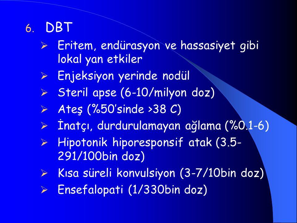 6. DBT  Eritem, endürasyon ve hassasiyet gibi lokal yan etkiler  Enjeksiyon yerinde nodül  Steril apse (6-10/milyon doz)  Ateş (%50'sinde >38 C) 