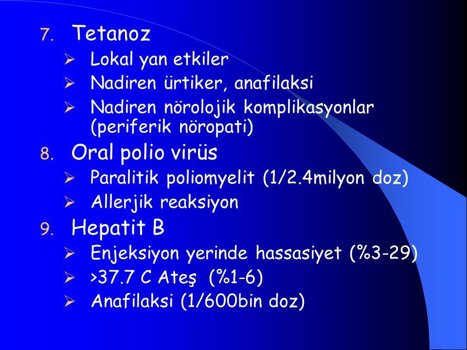 7. Tetanoz  Lokal yan etkiler  Nadiren ürtiker, anafilaksi  Nadiren nörolojik komplikasyonlar (periferik nöropati) 8. Oral polio virüs  Paralitik
