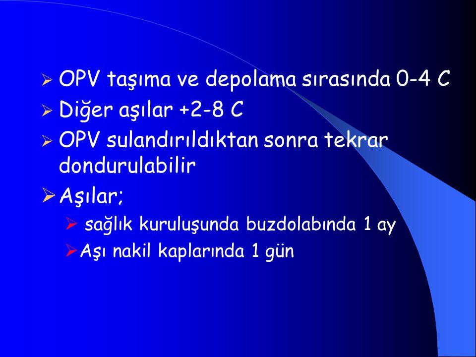  OPV taşıma ve depolama sırasında 0-4 C  Diğer aşılar +2-8 C  OPV sulandırıldıktan sonra tekrar dondurulabilir  Aşılar;  sağlık kuruluşunda buzdo