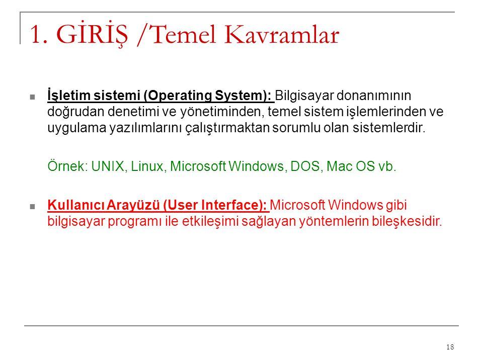 18 1. GİRİŞ /Temel Kavramlar İşletim sistemi (Operating System): Bilgisayar donanımının doğrudan denetimi ve yönetiminden, temel sistem işlemlerinden