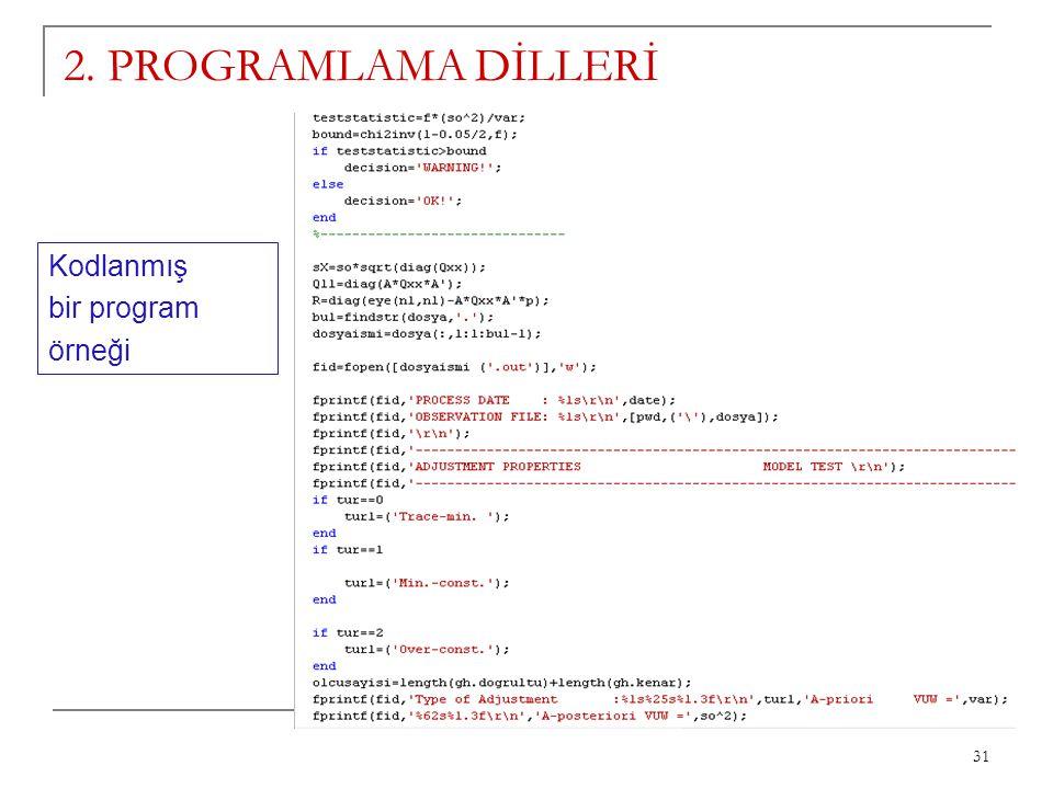 31 2. PROGRAMLAMA DİLLERİ Kodlanmış bir program örneği