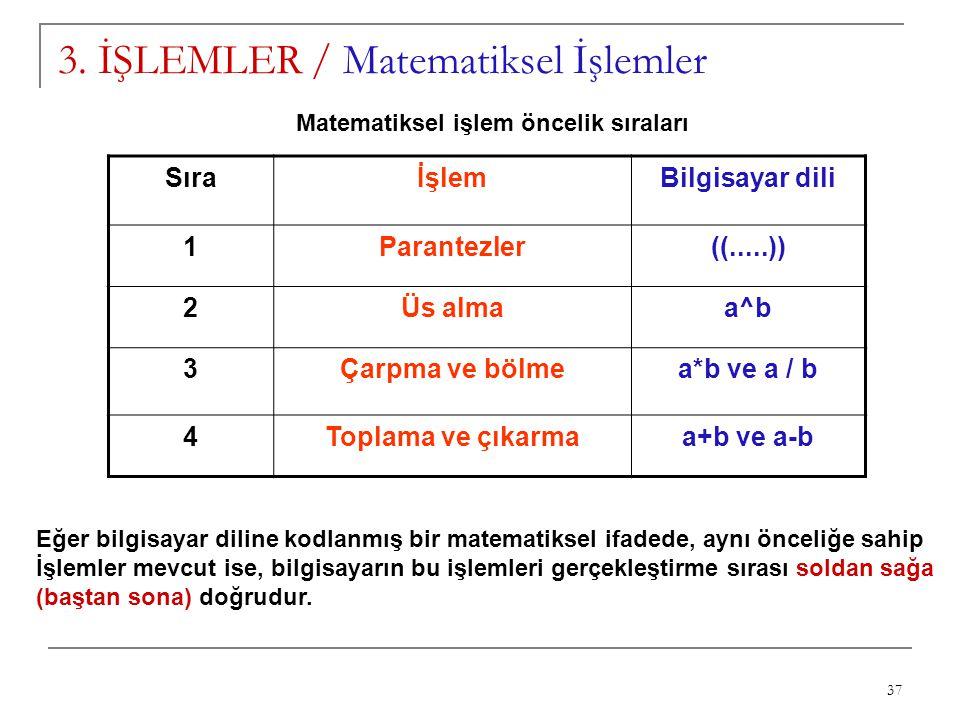 37 3. İŞLEMLER / Matematiksel İşlemler SıraİşlemBilgisayar dili 1Parantezler((.....)) 2Üs almaa^b 3Çarpma ve bölmea*b ve a / b 4Toplama ve çıkarmaa+b