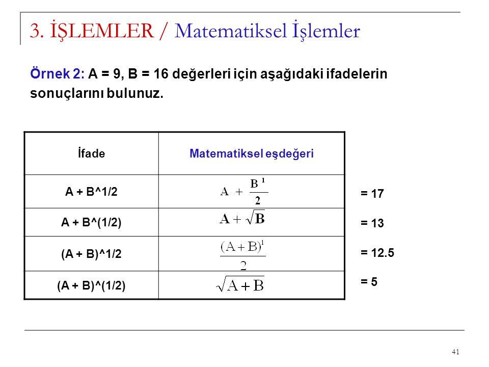 41 3. İŞLEMLER / Matematiksel İşlemler İfadeMatematiksel eşdeğeri A + B^1/2 A + B^(1/2) (A + B)^1/2 (A + B)^(1/2) Örnek 2: A = 9, B = 16 değerleri içi