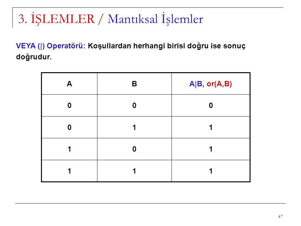47 3. İŞLEMLER / Mantıksal İşlemler VEYA (|) Operatörü: Koşullardan herhangi birisi doğru ise sonuç doğrudur. ABA|B, or(A,B) 000 011 101 111