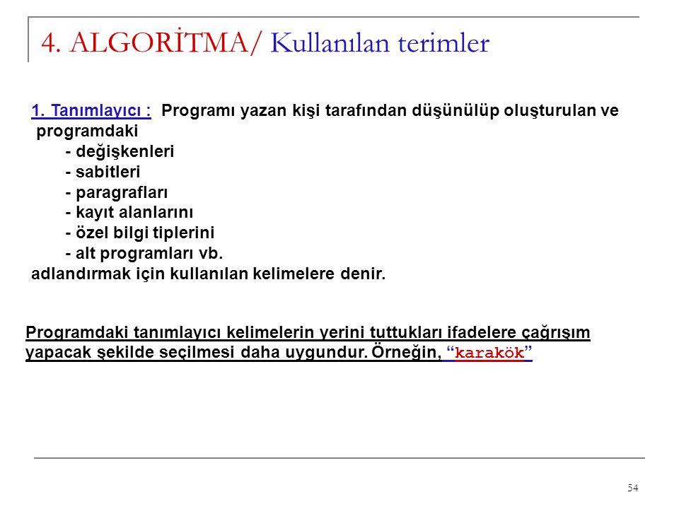 54 4. ALGORİTMA/ Kullanılan terimler 1. Tanımlayıcı : Programı yazan kişi tarafından düşünülüp oluşturulan ve programdaki - değişkenleri - sabitleri -