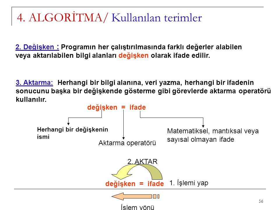 56 4. ALGORİTMA/ Kullanılan terimler 2. Değişken : Programın her çalıştırılmasında farklı değerler alabilen veya aktarılabilen bilgi alanları değişken