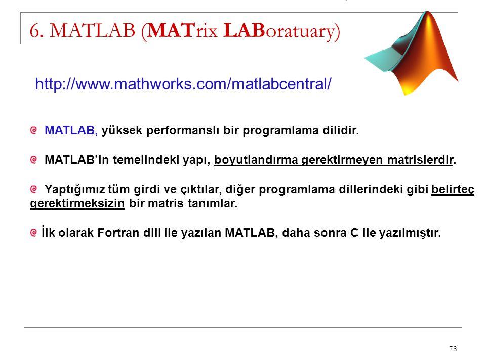 78 6. MATLAB (MATrix LABoratuary) MATLAB, yüksek performanslı bir programlama dilidir. MATLAB'in temelindeki yapı, boyutlandırma gerektirmeyen matrisl