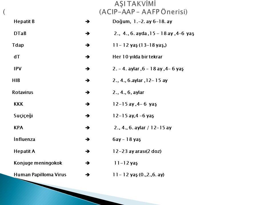 Hepatit B  Doğum, 1.-2. ay 6-18. ay DTaB  2., 4., 6. ayda,15 - 18 ay,4-6 yaş Tdap  11- 12 yaş (13-18 yaş,) dT  Her 10 yılda bir tekrar IPV  2. –