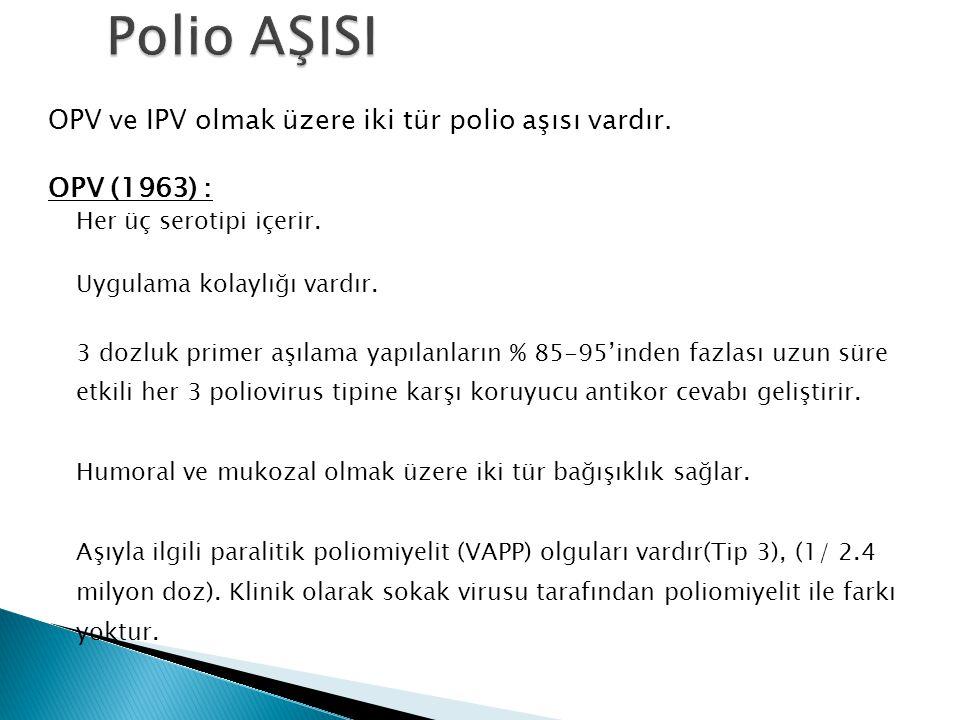 OPV ve IPV olmak üzere iki tür polio aşısı vardır. OPV (1963) : Her üç serotipi içerir. Uygulama kolaylığı vardır. 3 dozluk primer aşılama yapılanları