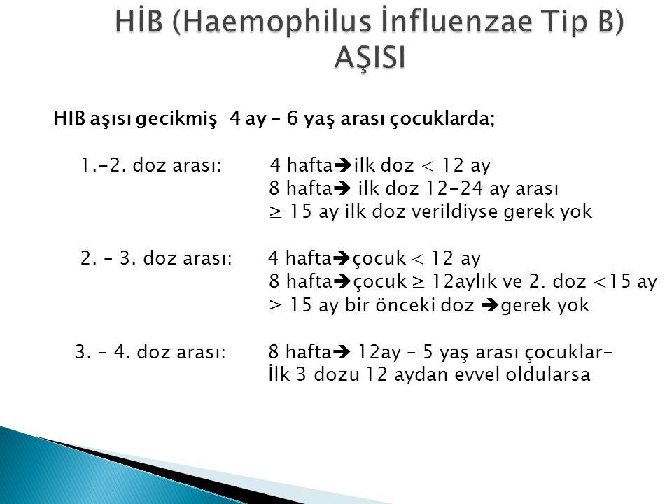 HIB aşısı gecikmiş 4 ay – 6 yaş arası çocuklarda; 1.-2. doz arası: 4 hafta  ilk doz < 12 ay 8 hafta  ilk doz 12-24 ay arası ≥ 15 ay ilk doz verildiy