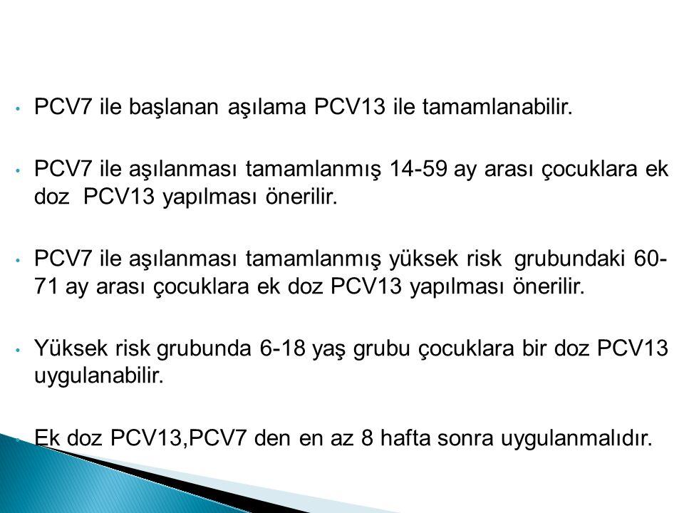 PCV7 ile başlanan aşılama PCV13 ile tamamlanabilir. PCV7 ile aşılanması tamamlanmış 14-59 ay arası çocuklara ek doz PCV13 yapılması önerilir. PCV7 ile