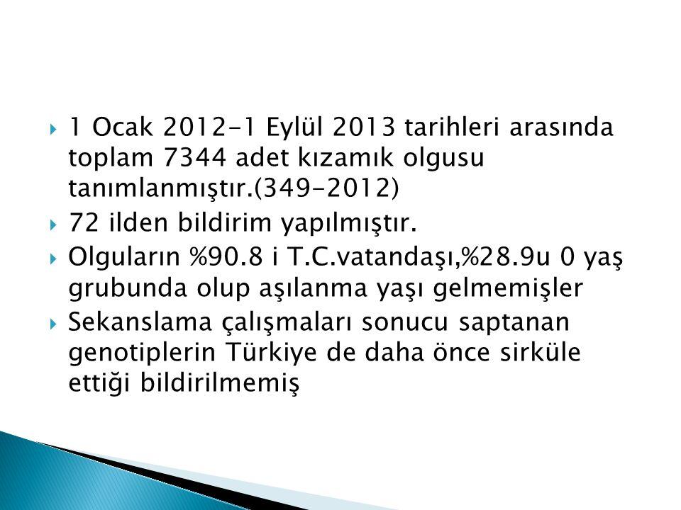  1 Ocak 2012-1 Eylül 2013 tarihleri arasında toplam 7344 adet kızamık olgusu tanımlanmıştır.(349-2012)  72 ilden bildirim yapılmıştır.  Olguların %