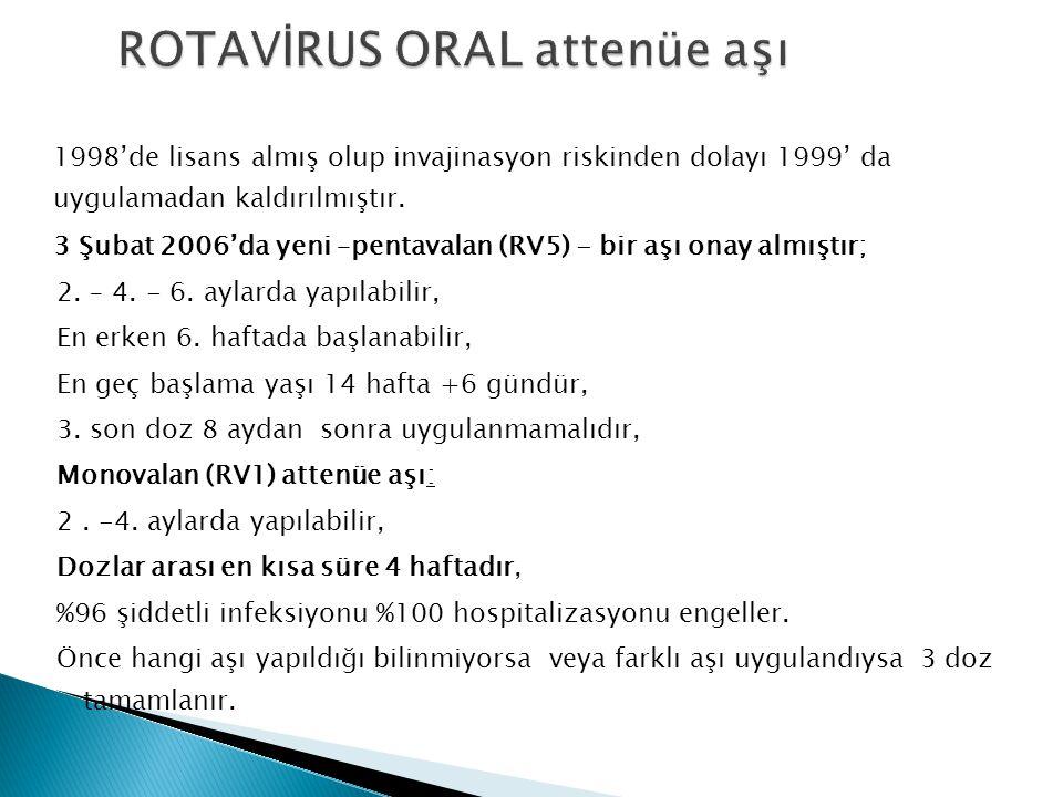 1998'de lisans almış olup invajinasyon riskinden dolayı 1999' da uygulamadan kaldırılmıştır. 3 Şubat 2006'da yeni –pentavalan (RV5) - bir aşı onay alm