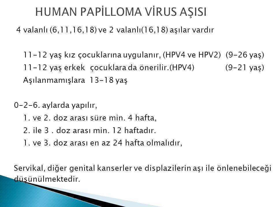 4 valanlı (6,11,16,18) ve 2 valanlı(16,18) aşılar vardır 11-12 yaş kız çocuklarına uygulanır, (HPV4 ve HPV2) (9-26 yaş) 11-12 yaş erkek çocuklara da önerilir.(HPV4) (9-21 yaş) Aşılanmamışlara 13-18 yaş 0-2-6.