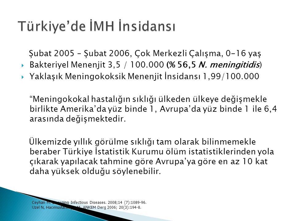 Şubat 2005 – Şubat 2006, Çok Merkezli Çalışma, 0-16 yaş  Bakteriyel Menenjit 3,5 / 100.000 (% 56,5 N. meningitidis)  Yaklaşık Meningokoksik Menenjit