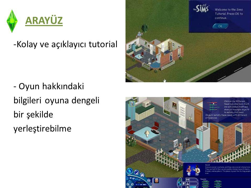 ARAYÜZ -Kolay ve açıklayıcı tutorial - Oyun hakkındaki bilgileri oyuna dengeli bir şekilde yerleştirebilme