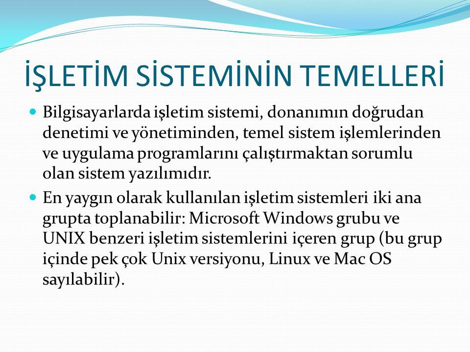 İŞLETİM SİSTEMİNİN TEMELLERİ Bilgisayarlarda işletim sistemi, donanımın doğrudan denetimi ve yönetiminden, temel sistem işlemlerinden ve uygulama prog