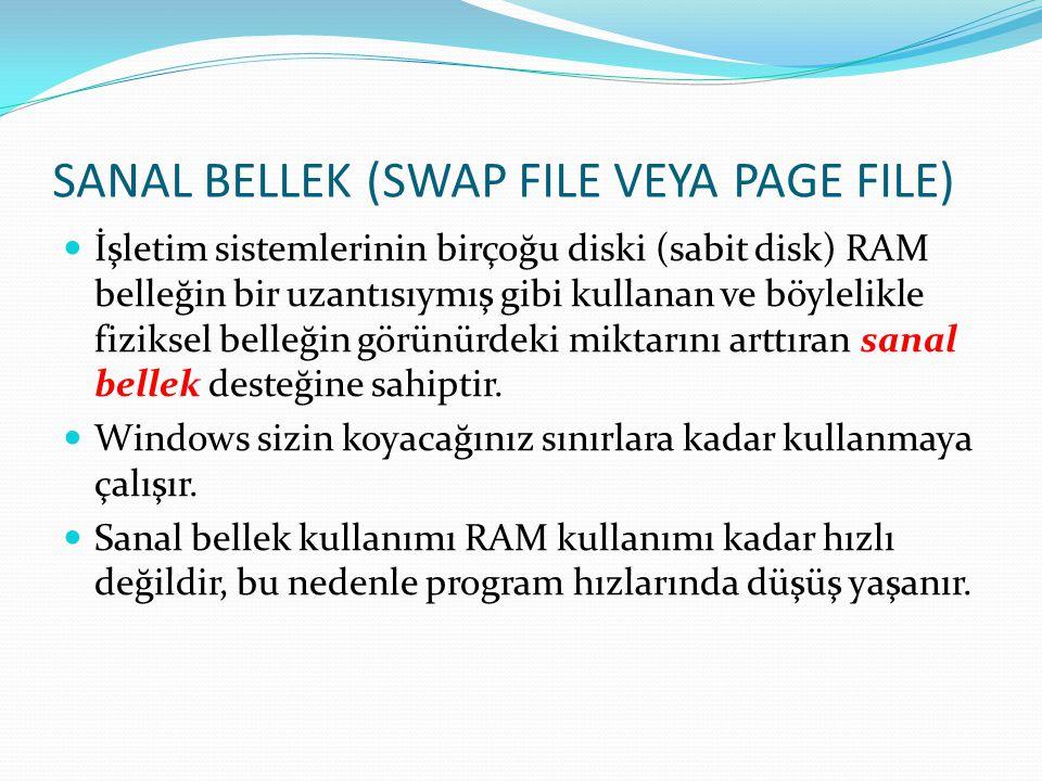 SANAL BELLEK (SWAP FILE VEYA PAGE FILE) İşletim sistemlerinin birçoğu diski (sabit disk) RAM belleğin bir uzantısıymış gibi kullanan ve böylelikle fiz