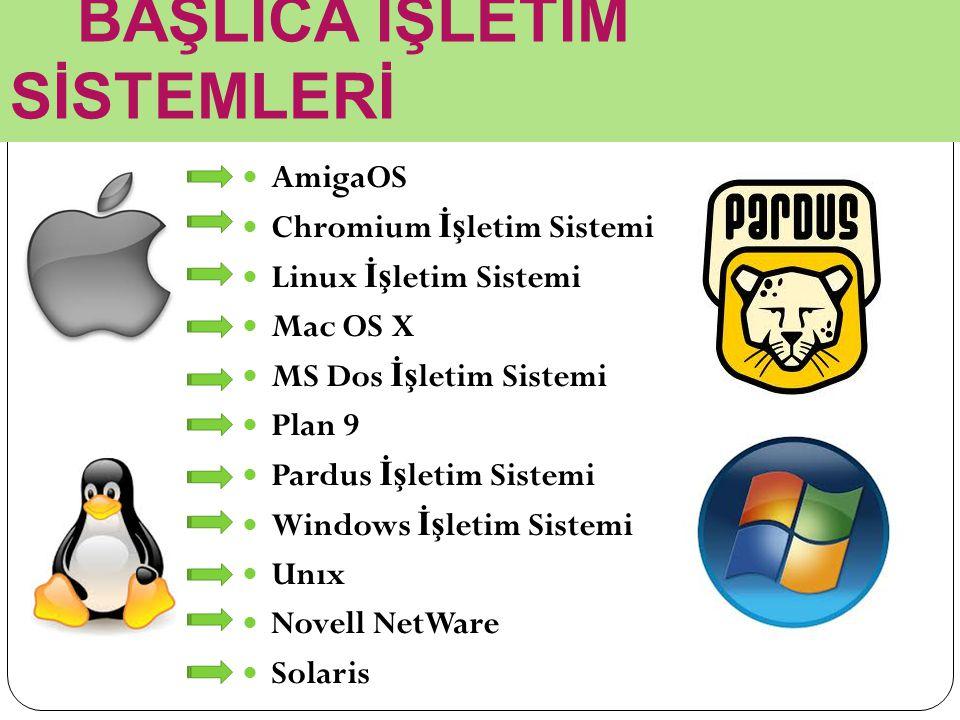 BAŞLICA İŞLETİM SİSTEMLERİ AmigaOS Chromium İş letim Sistemi Linux İş letim Sistemi Mac OS X MS Dos İş letim Sistemi Plan 9 Pardus İş letim Sistemi Windows İş letim Sistemi Unıx Novell NetWare Solaris