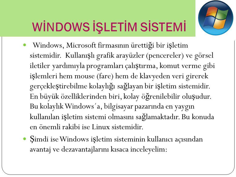 WİNDOWS İŞLETİM SİSTEMİ Windows, Microsoft firmasının üretti ğ i bir i ş letim sistemidir. Kullanı ş lı grafik arayüzler (pencereler) ve görsel iletil
