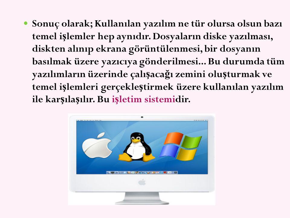 Sonuç olarak; Kullanılan yazılım ne tür olursa olsun bazı temel i ş lemler hep aynıdır. Dosyaların diske yazılması, diskten alınıp ekrana görüntülenme