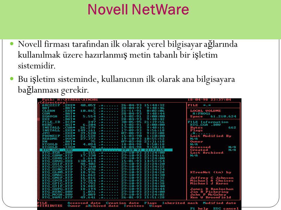 Novell NetWare Novell firması tarafından ilk olarak yerel bilgisayar a ğ larında kullanılmak üzere hazırlanmı ş metin tabanlı bir i ş letim sistemidir