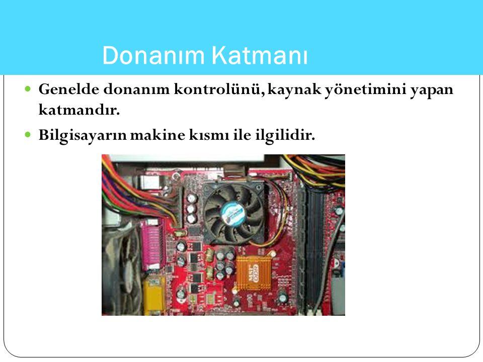 Genelde donanım kontrolünü, kaynak yönetimini yapan katmandır. Bilgisayarın makine kısmı ile ilgilidir.