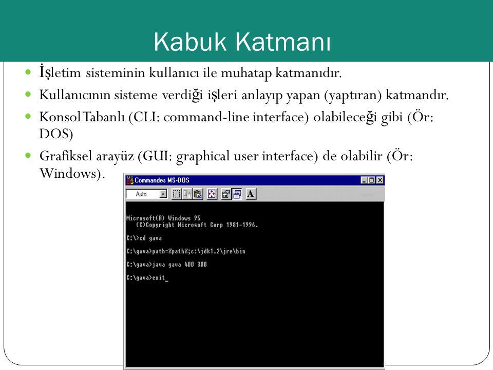 Kabuk Katmanı İş letim sisteminin kullanıcı ile muhatap katmanıdır. Kullanıcının sisteme verdi ğ i i ş leri anlayıp yapan (yaptıran) katmandır. Konsol