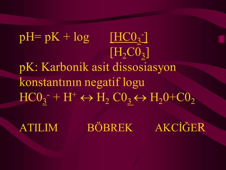 pH= pK + log[HC0 3 - ] [H 2 C0 3 ] pK: Karbonik asit dissosiasyon konstantının negatif logu HC0 3 - + H +  H 2 C0 3  H 2 0+C0 2 ATILIMBÖBREKAKCİĞE R