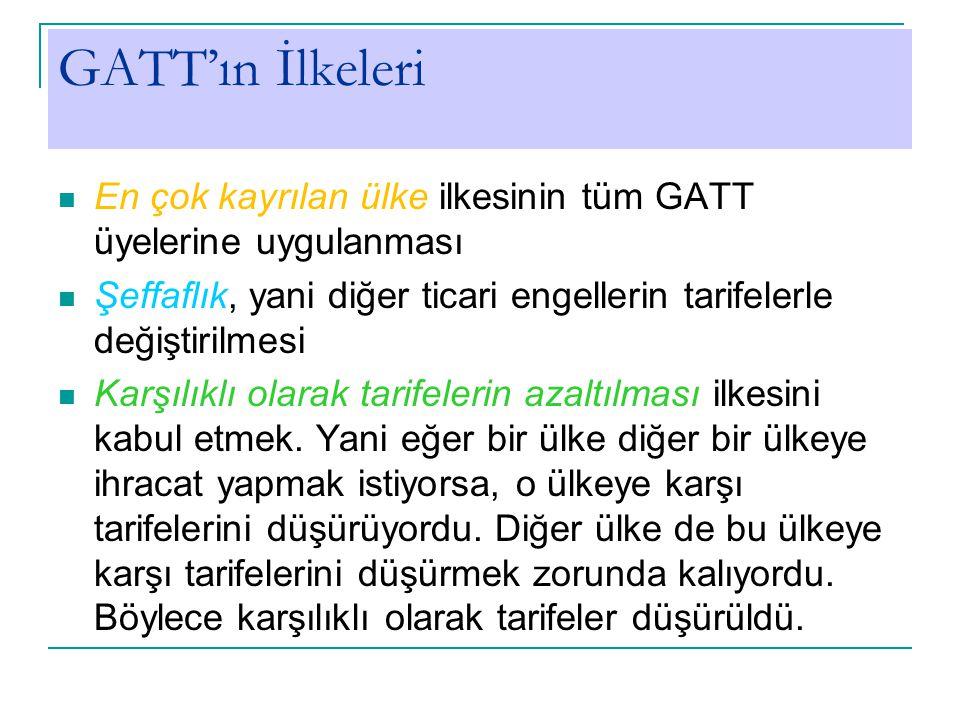 GATT'ın İlkeleri En çok kayrılan ülke ilkesinin tüm GATT üyelerine uygulanması Şeffaflık, yani diğer ticari engellerin tarifelerle değiştirilmesi Karşılıklı olarak tarifelerin azaltılması ilkesini kabul etmek.