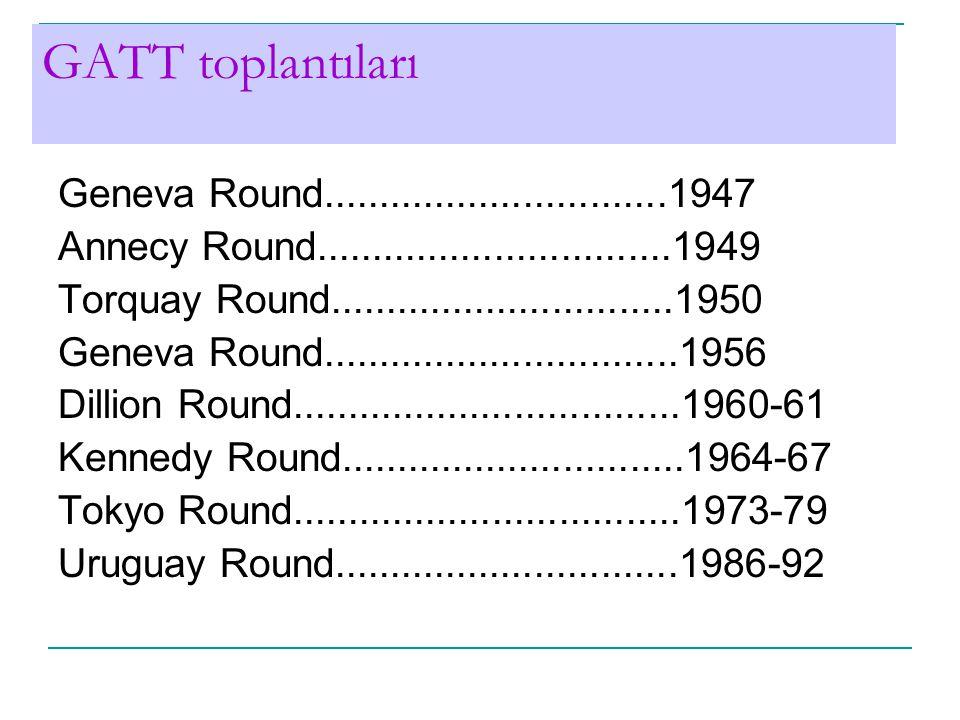 GATT toplantıları Geneva Round...............................1947 Annecy Round................................1949 Torquay Round...............................1950 Geneva Round................................1956 Dillion Round...................................1960-61 Kennedy Round...............................1964-67 Tokyo Round...................................1973-79 Uruguay Round...............................1986-92