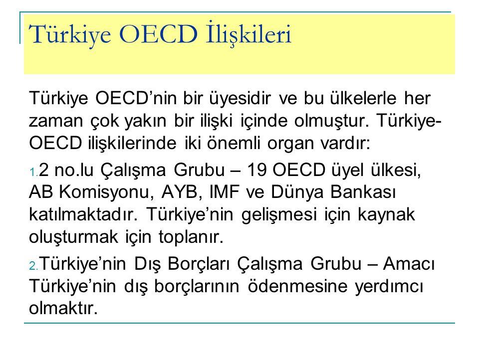 Türkiye OECD İlişkileri Türkiye OECD'nin bir üyesidir ve bu ülkelerle her zaman çok yakın bir ilişki içinde olmuştur.