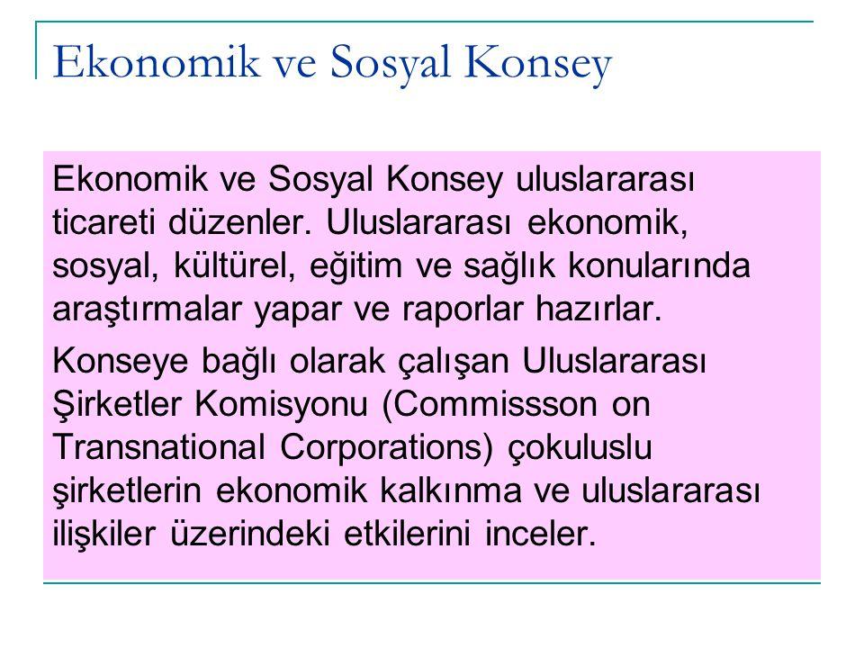 Ekonomik ve Sosyal Konsey Ekonomik ve Sosyal Konsey uluslararası ticareti düzenler. Uluslararası ekonomik, sosyal, kültürel, eğitim ve sağlık konuları
