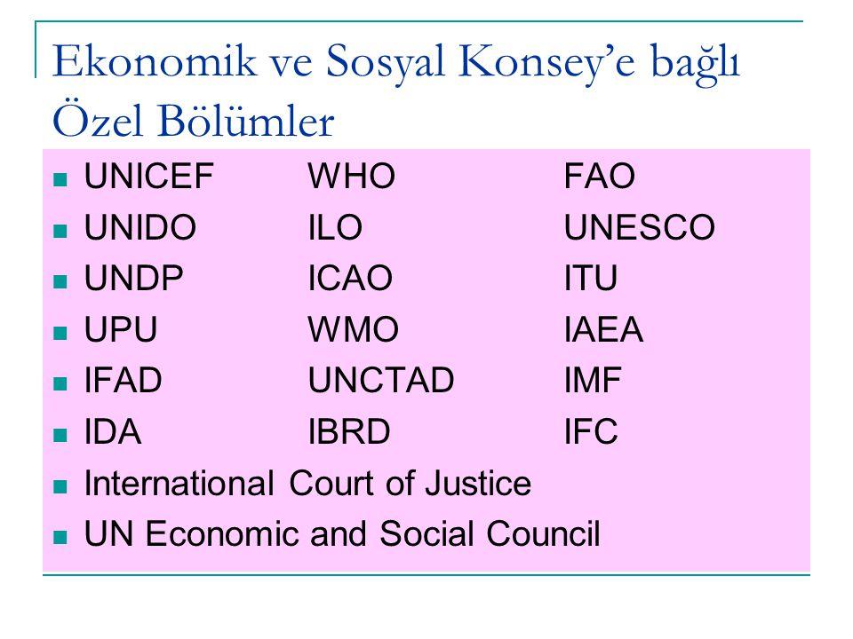 Ekonomik ve Sosyal Konsey'e bağlı Özel Bölümler UNICEFWHOFAO UNIDOILOUNESCO UNDPICAOITU UPUWMOIAEA IFADUNCTADIMF IDAIBRDIFC International Court of Justice UN Economic and Social Council