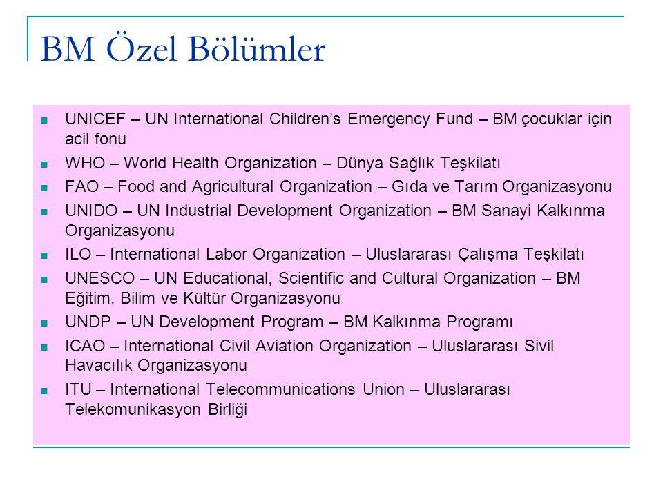 BM Özel Bölümler UNICEF – UN International Children's Emergency Fund – BM çocuklar için acil fonu WHO – World Health Organization – Dünya Sağlık Teşkilatı FAO – Food and Agricultural Organization – Gıda ve Tarım Organizasyonu UNIDO – UN Industrial Development Organization – BM Sanayi Kalkınma Organizasyonu ILO – International Labor Organization – Uluslararası Çalışma Teşkilatı UNESCO – UN Educational, Scientific and Cultural Organization – BM Eğitim, Bilim ve Kültür Organizasyonu UNDP – UN Development Program – BM Kalkınma Programı ICAO – International Civil Aviation Organization – Uluslararası Sivil Havacılık Organizasyonu ITU – International Telecommunications Union – Uluslararası Telekomunikasyon Birliği