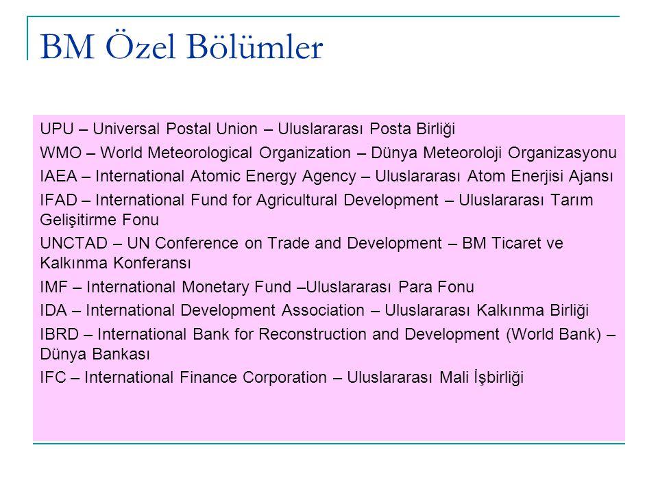 BM Özel Bölümler UPU – Universal Postal Union – Uluslararası Posta Birliği WMO – World Meteorological Organization – Dünya Meteoroloji Organizasyonu I