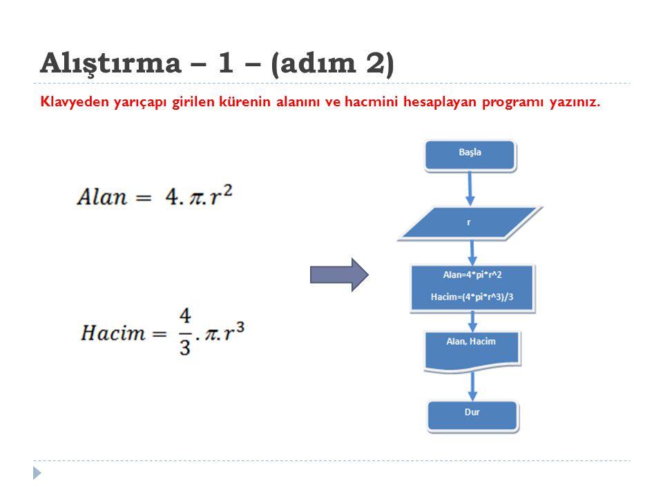 Alıştırma – 1 – (adım 3) Klavyeden yarıçapı girilen kürenin alanını ve hacmini hesaplayan programı yazınız.