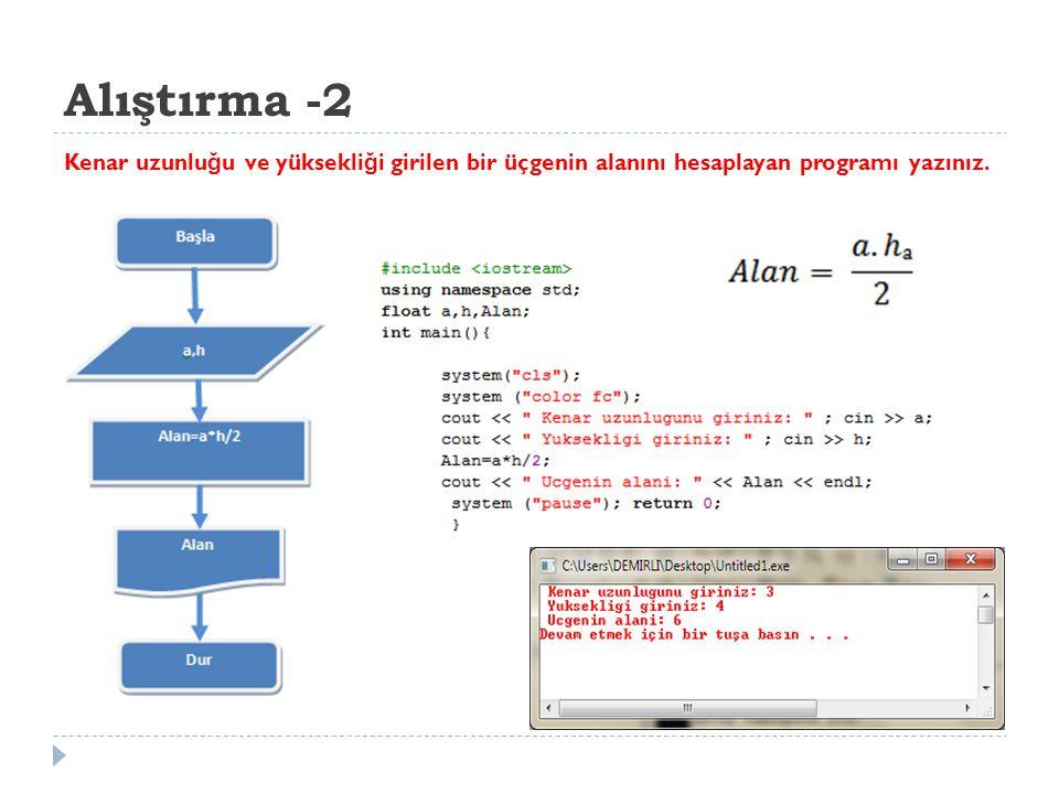 Alıştırma - 3 Klavyeden iki dik kenarı girilen üçgenin hipotenüsünü hesaplayan programı yazınız.