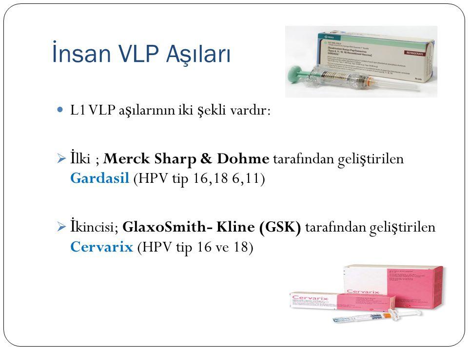 İnsan VLP Aşıları L1 VLP a ş ılarının iki ş ekli vardır:  İ lki ; Merck Sharp & Dohme tarafından geli ş tirilen Gardasil (HPV tip 16,18 6,11)  İ kincisi; GlaxoSmith- Kline (GSK) tarafından geli ş tirilen Cervarix (HPV tip 16 ve 18)
