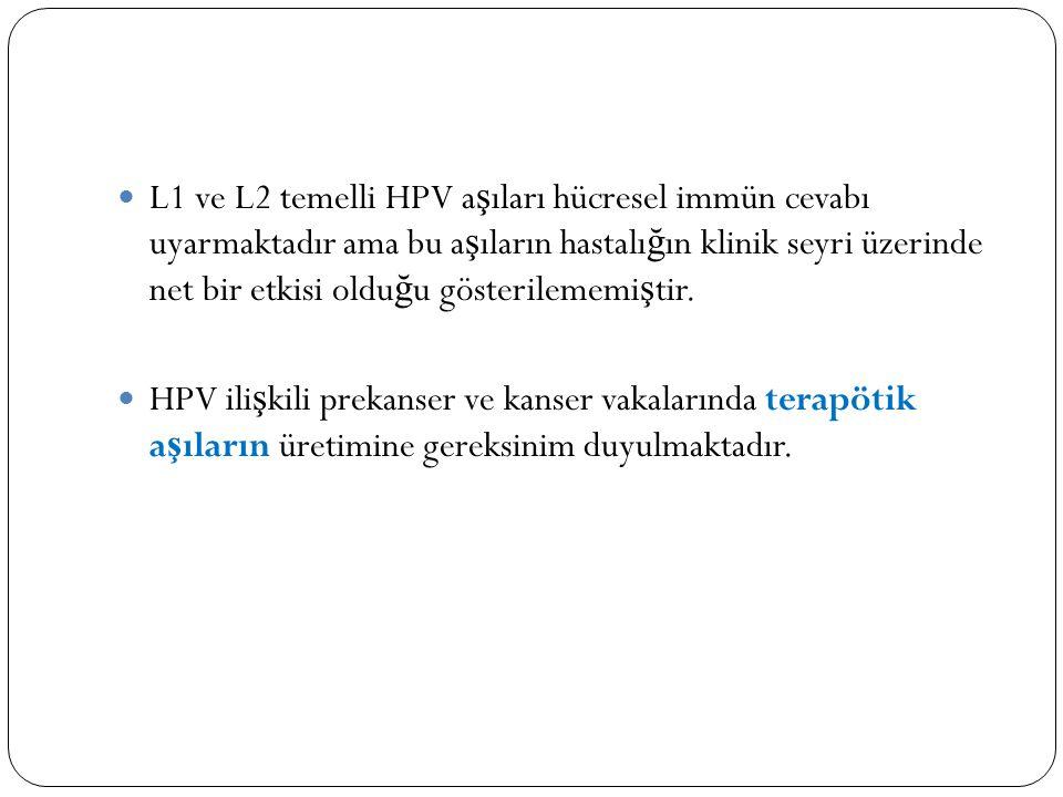 L1 ve L2 temelli HPV a ş ıları hücresel immün cevabı uyarmaktadır ama bu a ş ıların hastalı ğ ın klinik seyri üzerinde net bir etkisi oldu ğ u gösterilememi ş tir.