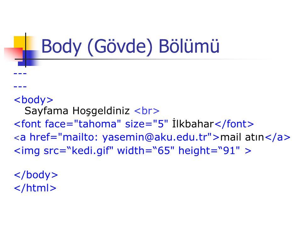 Body (Gövde) Bölümü --- Sayfama Hoşgeldiniz mail atın