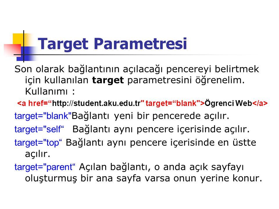 Target Parametresi Son olarak bağlantının açılacağı pencereyi belirtmek için kullanılan target parametresini öğrenelim. Kullanımı : Ögrenci Web target