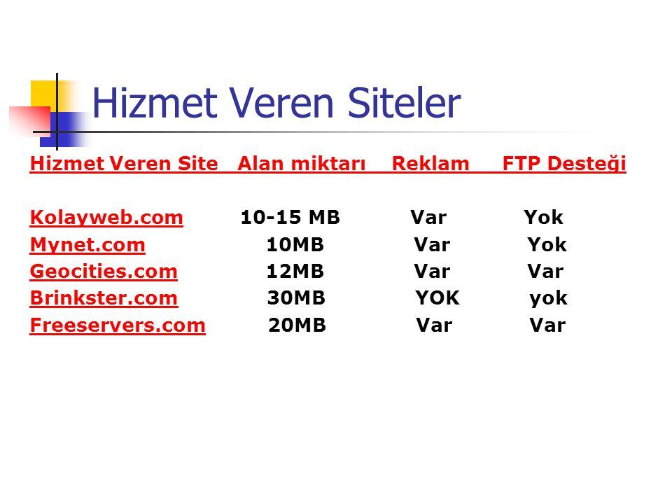 Hizmet Veren Siteler Hizmet Veren Site Alan miktarı Reklam FTP Desteği Kolayweb.comKolayweb.com 10-15 MB Var Yok Mynet.comMynet.com 10MB Var Yok Geoci