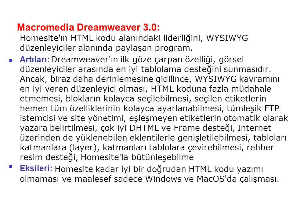 Macromedia Dreamweaver 3.0: Homesite'ın HTML kodu alanındaki liderliğini, WYSIWYG düzenleyiciler alanında paylaşan program. Artıları: Dreamweaver'ın i